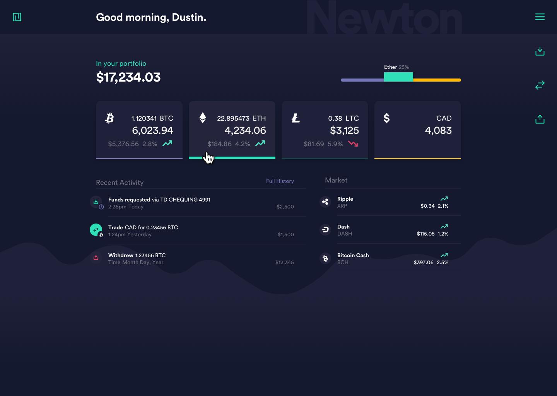 Newton's Web app Dashboard UI