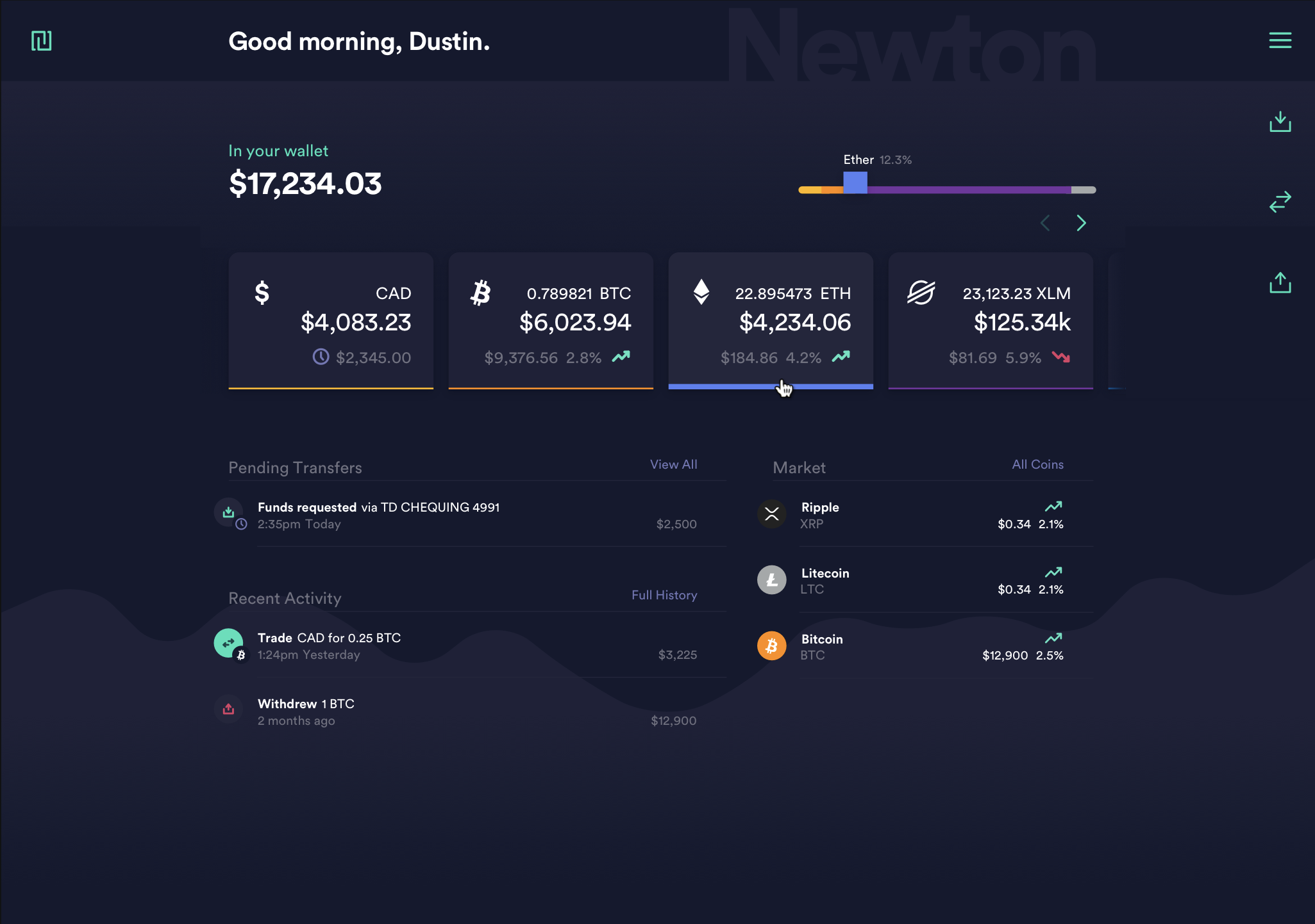 Newton's Web app Dashboard UI