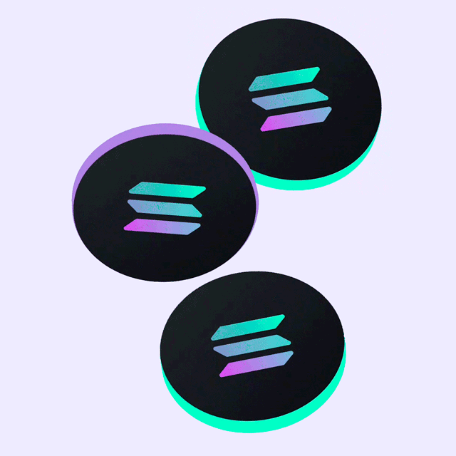 3D render of coins dropping. Solana (SOL) now available on Newton.
