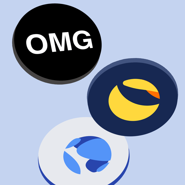 3D render of coins dropping. Terra (LUNA), TerraUSD (UST), OMG Network now available on Newton.
