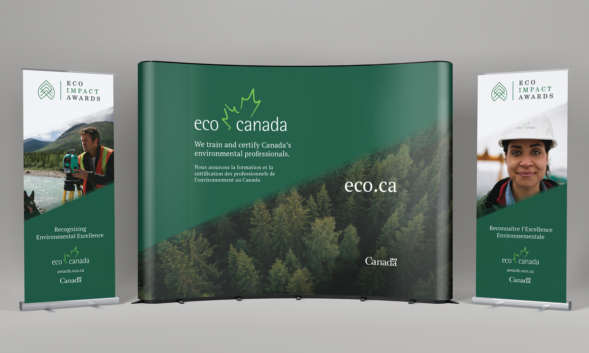 Print design sample of trade show booth and pop-up banners for Eco Canada.