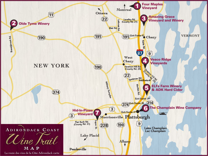 Adirondack Coast Wineries Map
