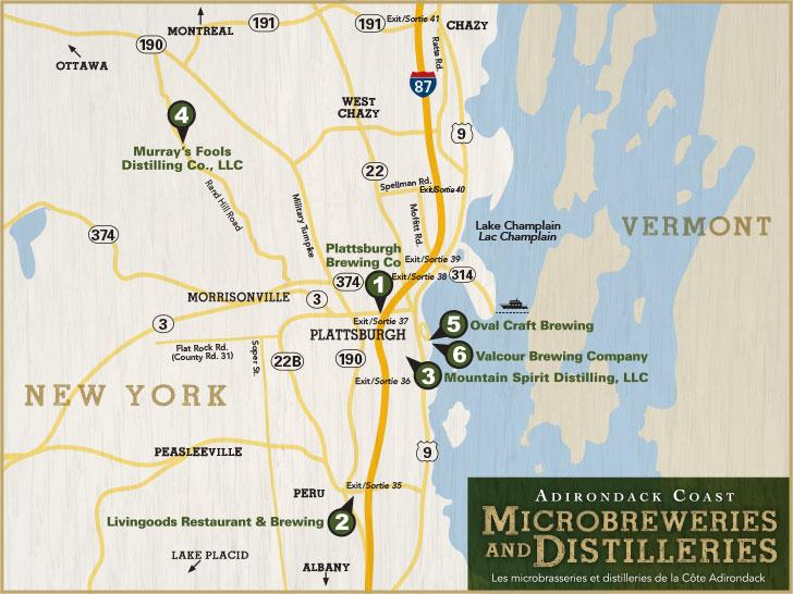 Adirondack Coast Microbreweries and Distilleries Map