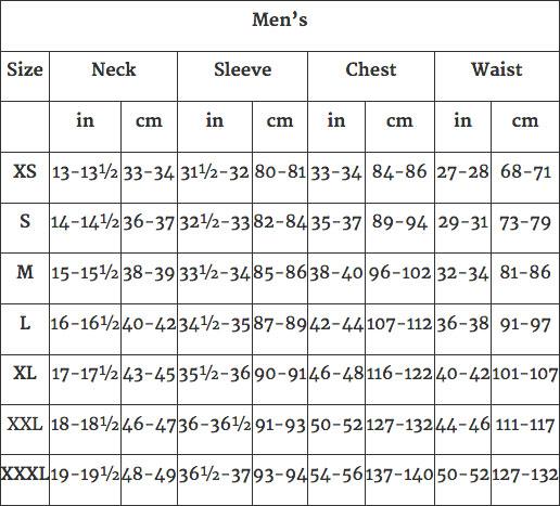 mens sizing chart