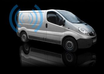 van with alarm sounding