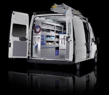 van with doors open and racking showing