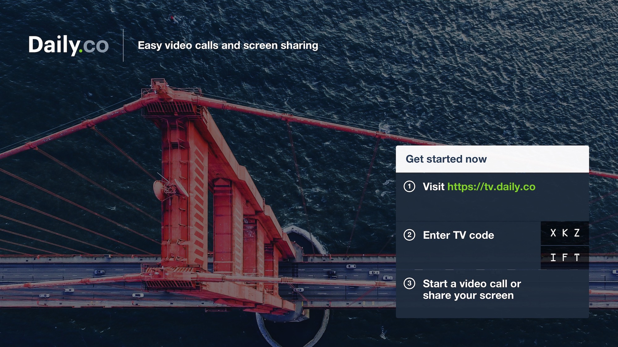 Daily.co TV standby screen UI