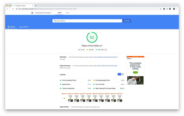 Improved Webflow PageSpeed score