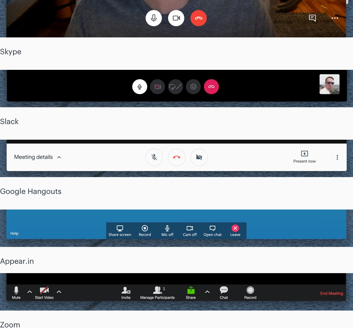 Video call controls