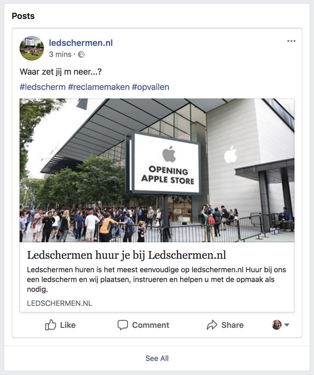 Volg Ledschermen.nl op Facebook