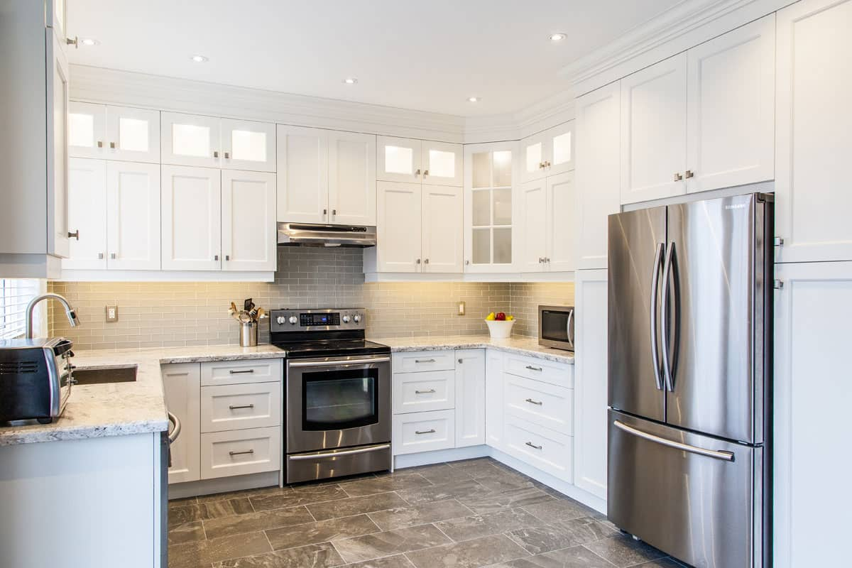 White Kitchen With Frosted Glass