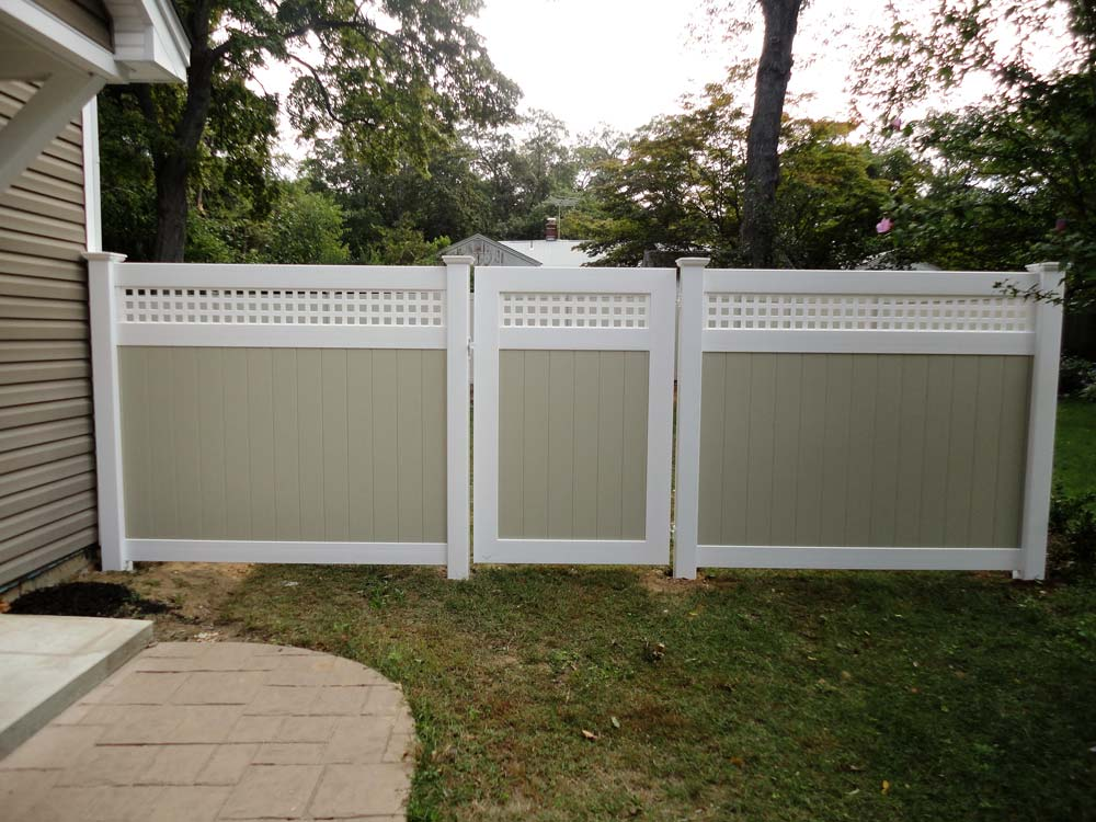 Two Tone PVC Lattice Top Fence in Suffolk County, NY