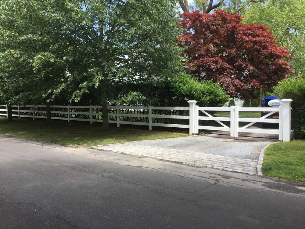 PVC post and rail fence in Remsenburg, NY