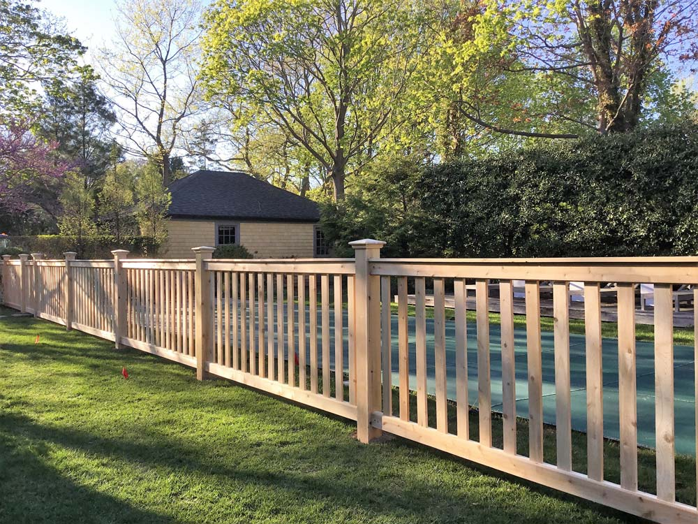 Cedar Pool Wooden fence installed by Sunrise Custom Fence in Suffolk County