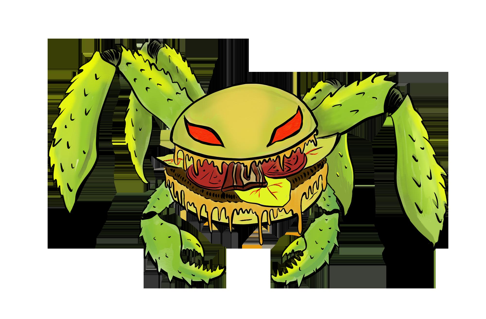 Illustration of a hamburger monster
