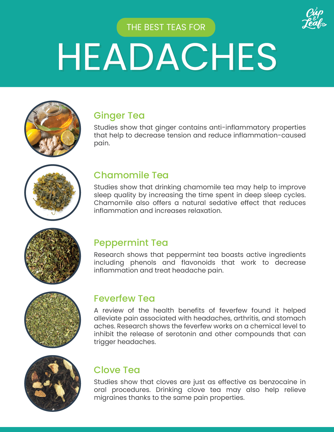 The 5 Best Teas For Headaches - Cup & Leaf