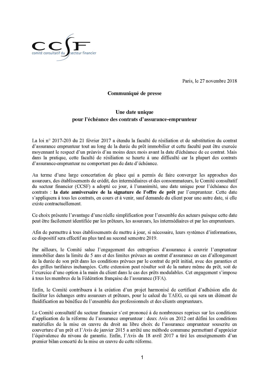 Communiqué de presse du Comité Consultatif du Secteur Financier 27 novembre 2018