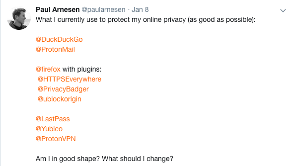 Privacy tools twitter