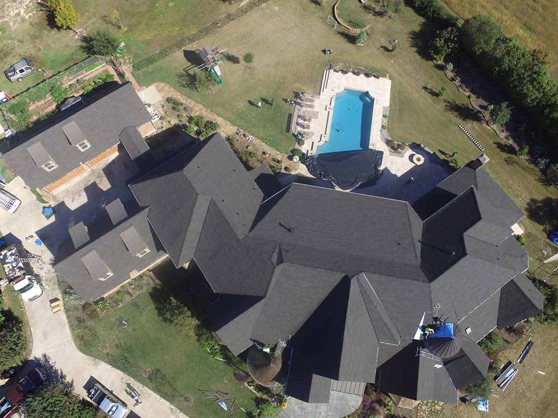 Drone picture - Dallas roofing project