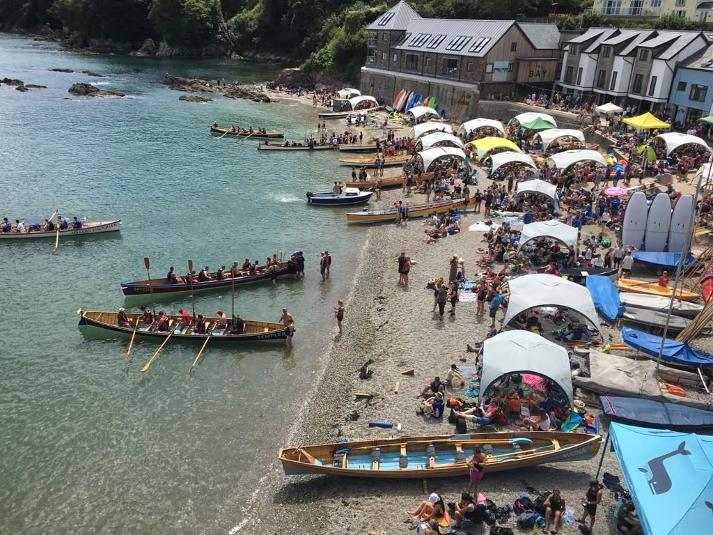 Gig Regatta on Cawsand Beach