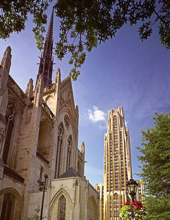 Exterior View from the North East: Heinz Memorial Chapel and the Cathedral of Learning