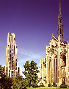 Exterior View from the South East: Heinz Memorial Chapel and the Cathedral of Learning