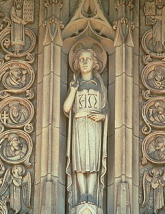 Tympanum Carving of the Boy Jesus