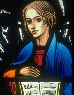 Figure in Gallery Stairway Window