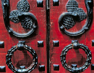 Wrought-iron Detail Work on Doors