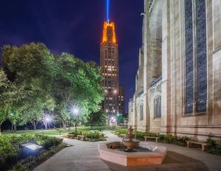 The Heinz Chapel Garden at Night