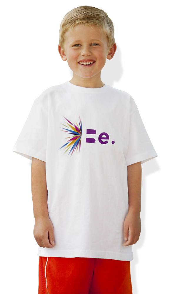 Boy smiling wearing a t-shirt