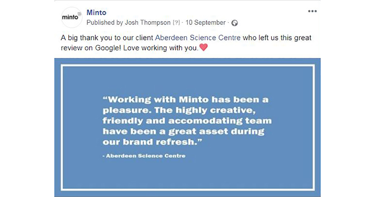 Minto Testimonial Image From Aberdeen Science Centre