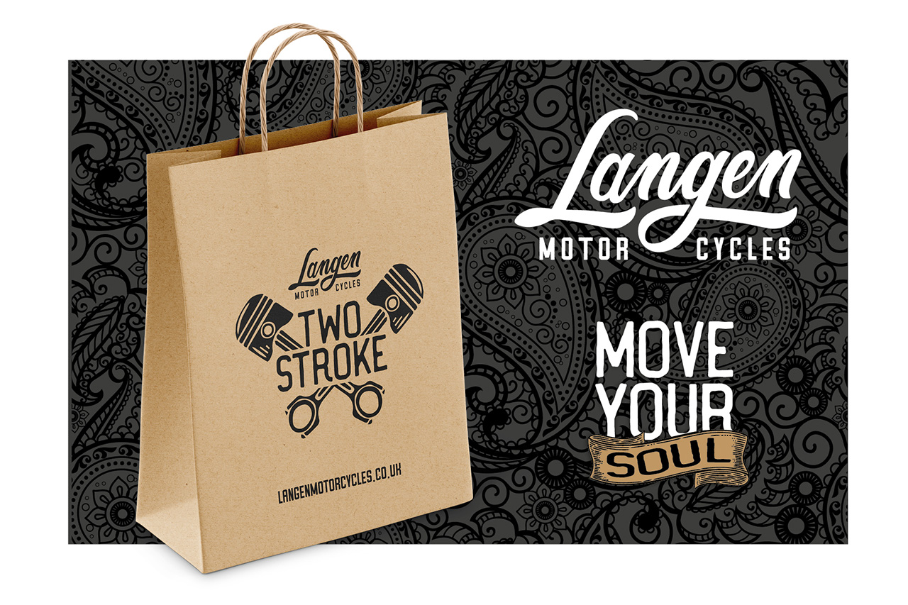 Langen Motorcyles branded paper bag, logo and tagline 'Move your soul' on top of a grey paisley pattern background