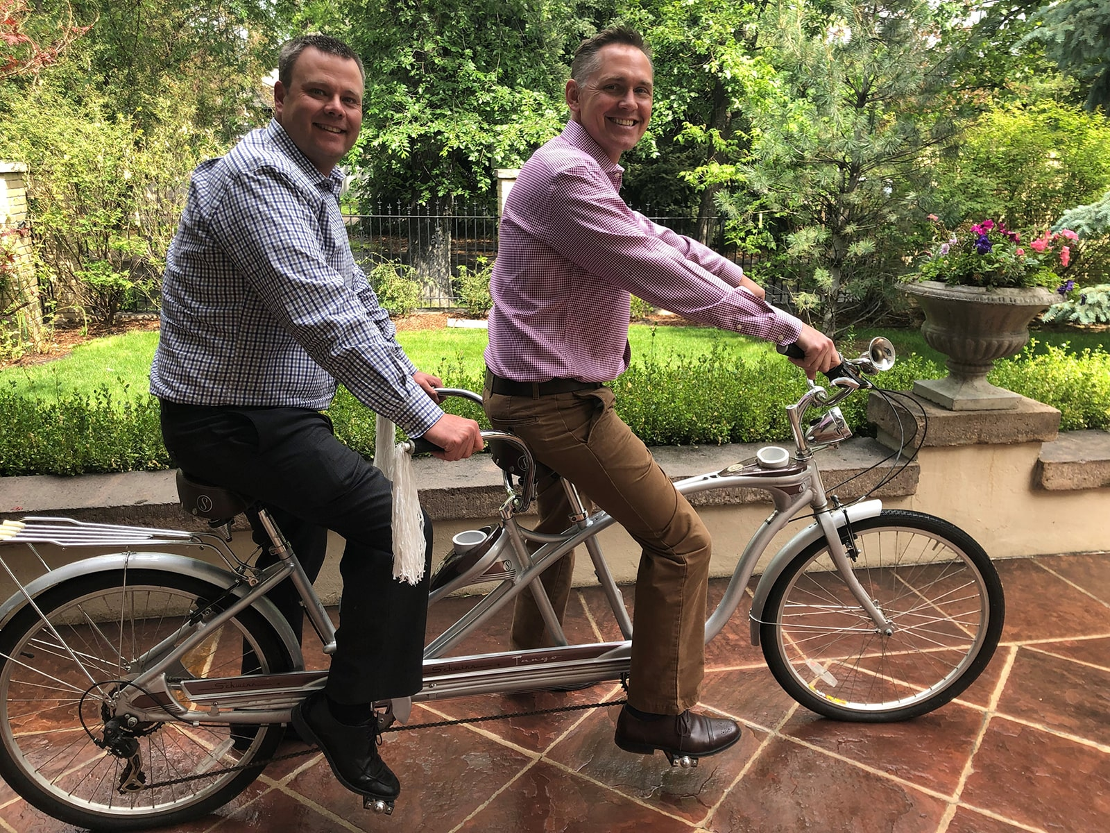 Ryan and Michael Riding a Tandem Bike