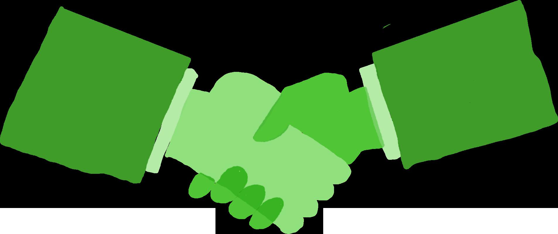 2 hands shaking illustration