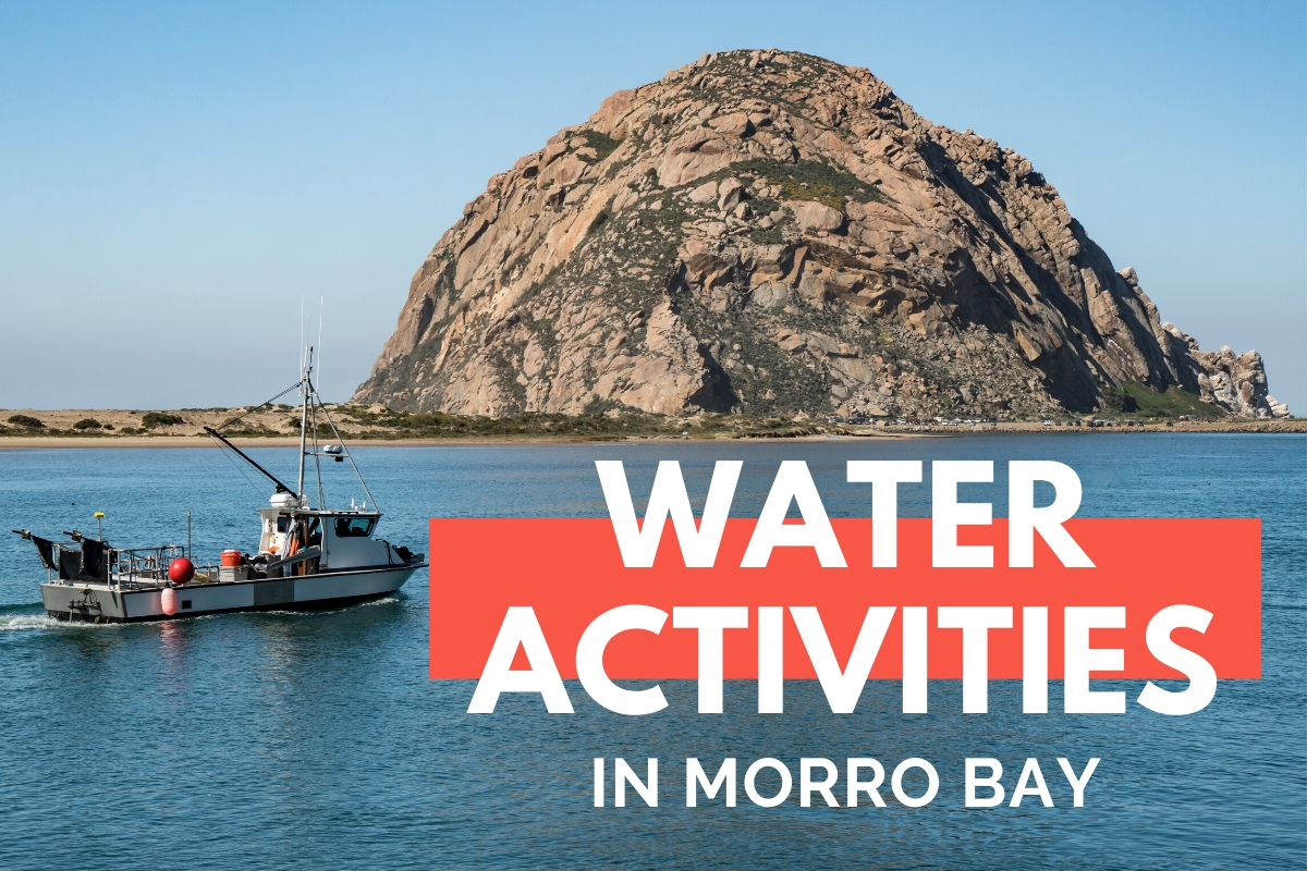 Morro Rock with a fishing boat