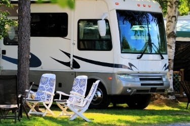 RV Car parked in camping area