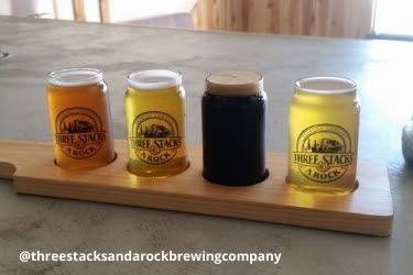 Beer samples from Three Stacks and A Rock Brewing