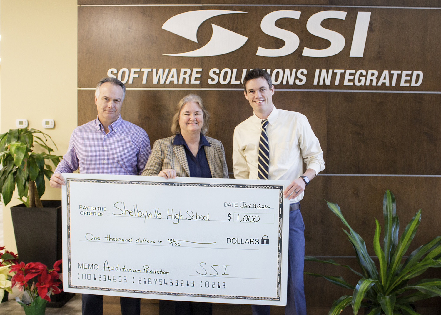 PHOTO: (Left to Right: DaveCraft, SSI Vice-President of Marketing, Pam Rincker, SSI President and KyleLadd, Shelbyville High School Principal).