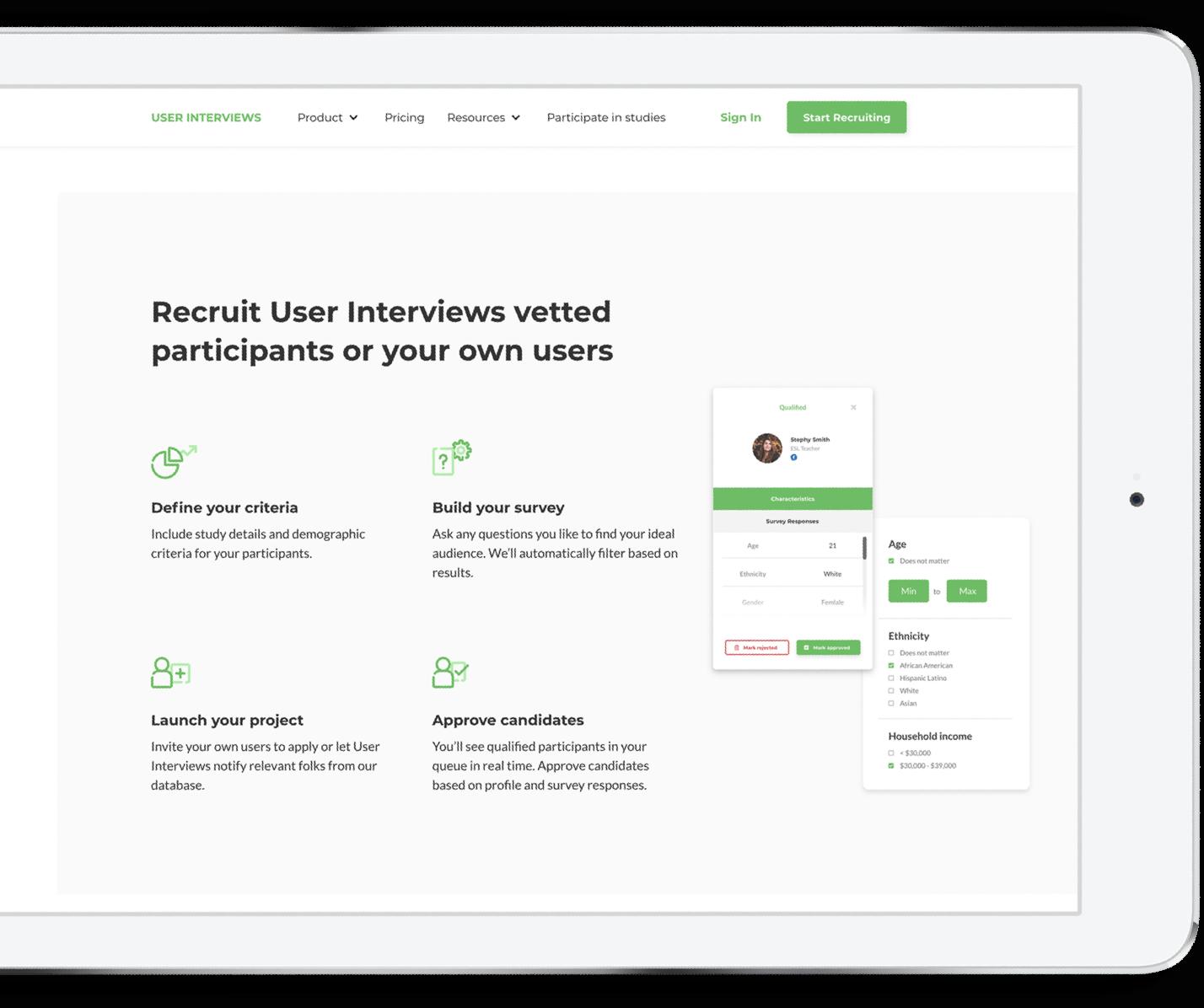 User Interviews Talet