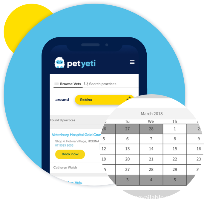 PetYeti product image  – Mobile device displaying PetYeti Online Appointments