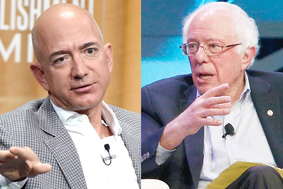 Jeff Bezos and Bernie Sanders