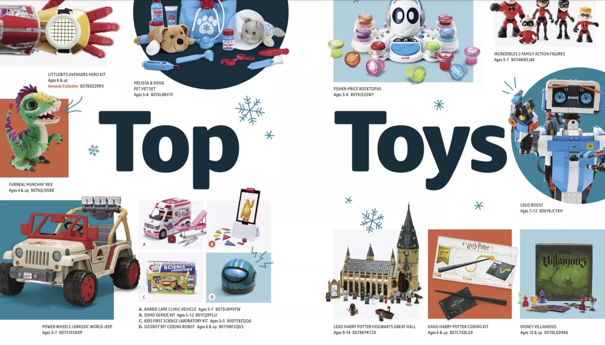 Amazon store holiday toy catalog