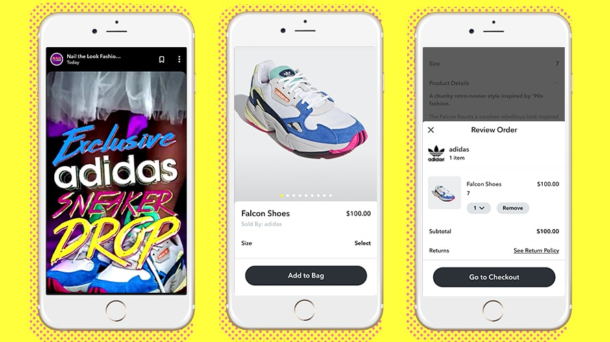 Three views of Snapchat's ecommerce functionality