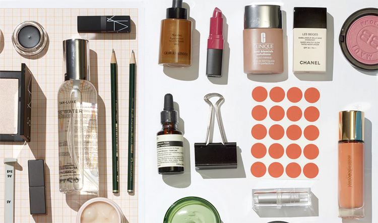 Cosmetics laid out on a flat surface