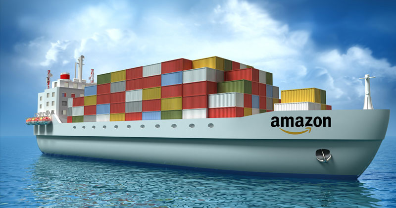 Amazon freighter with shipping containers aboard
