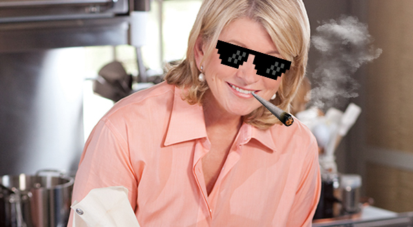 Martha Stewart with fake sunglasses and marijuana joint