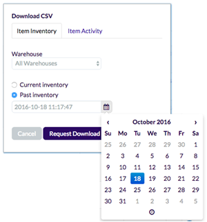 Screenshot of date picker on CSV download