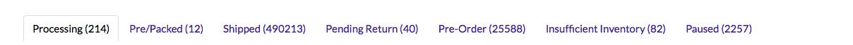 Screenshot of status tabs on website
