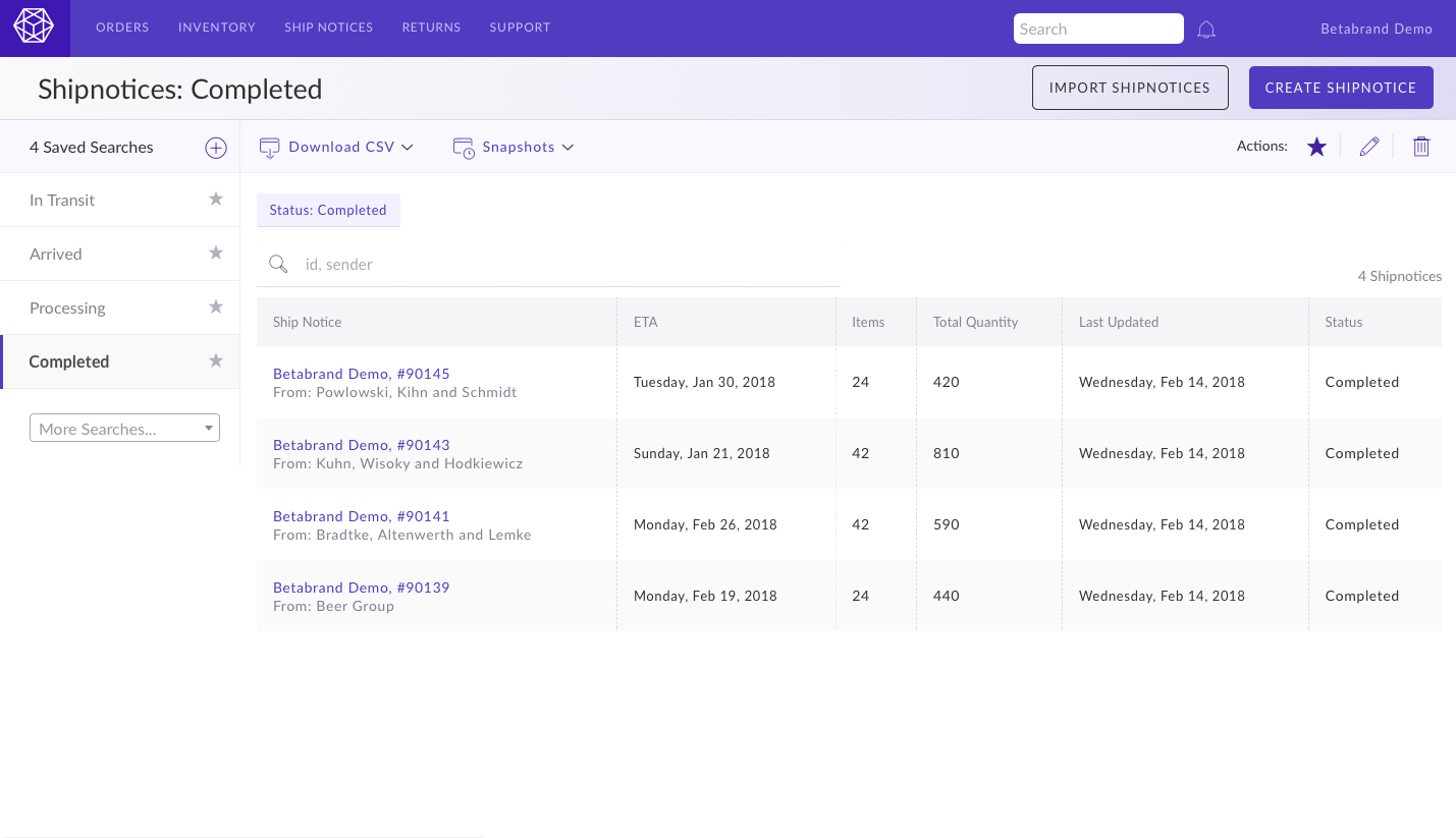 Screenshot of completed shipments filter